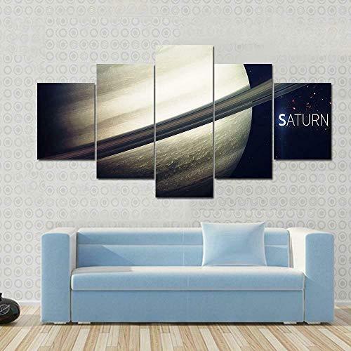 BDFDF Lienzo 5 Piezas Cuadro Lienzo No Tejido Saturno con Anillos Vista del Universo 5 Carteles Pintura Mural Modernos Hogar Decoracion Artes 150X80Cm