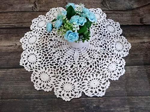 Wozoaoasq, centrotavola rotonda fatta a mano con fiori all'uncinetto, tazza da caffè, tovaglia, tovaglia, tovaglia, tovaglia, tovaglia, tovaglia, per matrimoni, banchetti e feste, bianco, Round 40CM