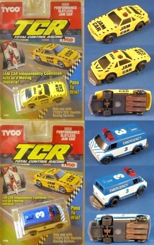 1991 TYCO TCR Mustang & Van Slotless Jam Car Pair Total Control Racing; No Pin