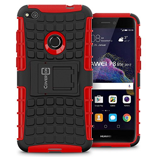 Huawei P8 Lite Case, CoverON Atomic Series Hybrid Kickstand Protective Dual Layer Hard Phone Cover for Huawei P8 Lite (2017 Version) - Red on Black