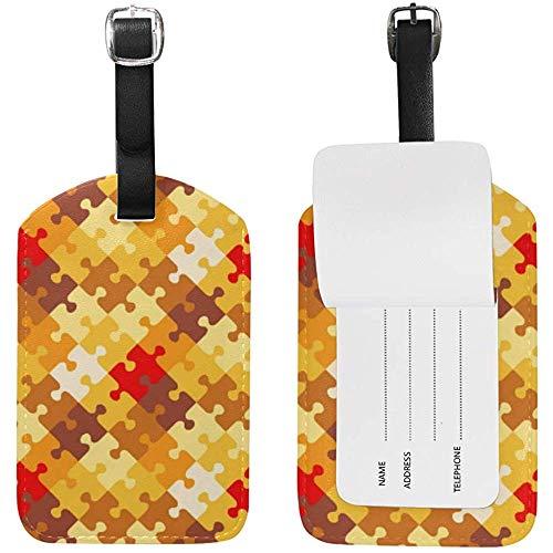 Herbst Halloween Orange Puzzle-Muster Nette Gepäckanhänger Pu-Leder Doppelseitiger Druck Reisetasche Koffer Identifikatoren