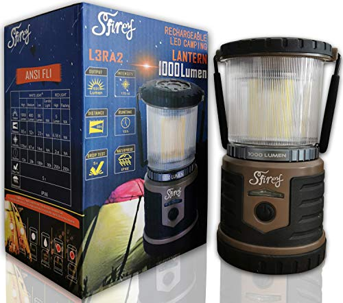Sfirey 1000 Lumen LED Rechargeable Lantern Outdoor 200 Hours Runtime Camping and Emergency Light (Taupe)