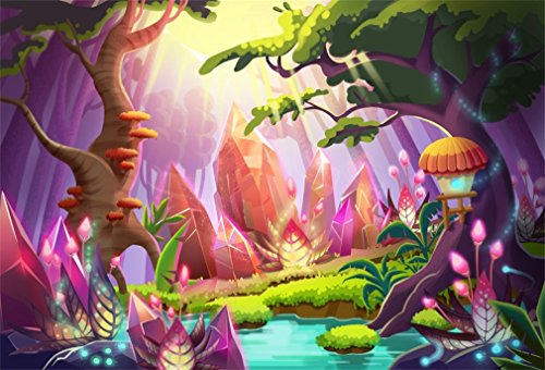 YongFoto 1,5x1m Sfondo Fotografico Fantasia fiume delle foglie verdi dei vecchi alberi degli alberi fungo castello giardino incantato favola Fondale Foto Festa Bambini Boby Adulto Partito Studio