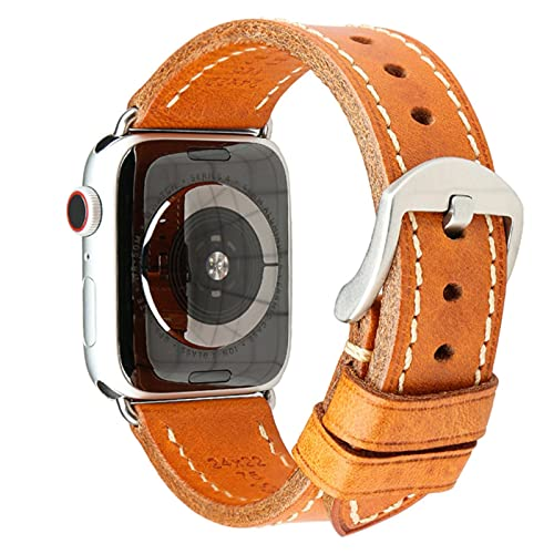 Leather Watch Loop Band for Apple Watch, Soft Strap for iWatch Series 2 3 4 5 6 SE-Light Brown Silver,For 40mm or 38mm