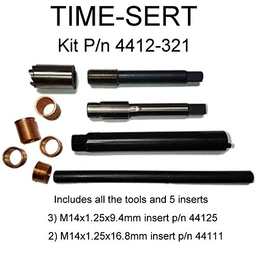 Aramox Spark Plug Thread Repair Tool,16Pcs 14mm x 1.25 Spark Plug Thread Repair Tool Kit M16 Tap W//Portable Case