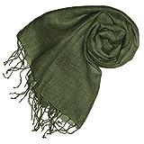 Lorenzo Cana Luxus Damenschal Leinenschal 100% Leinen 70 cm x 180 cm Tuch Naturfaser Trendfarbe Grün Olivgrün Olive 93263