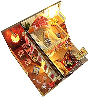 Cudli DIY Miniature Wooden Dollhouse kit Handmade Gift for BDday 3D Model Craft with Lights - Japanese Sushi House (Free Dustcover)