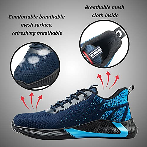 Zapatos de Seguridad S3 para Hombre Zapatillas Zapatos de Mujer Seguridad de Acero Ligeras Calzado de Trabajo para Comodas Unisex Zapatos de Industria y Construcción (Azul 45)