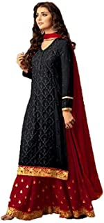 Monika Silk Mill Women's Georgette Embroidered Semi Stitched Plazzo Style Salwar Suit (Black Color_MSAM47001i)
