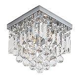 PUSU Modern Crystal Chandeliers,2-Light W8' Mini Chandelier,Square Flush Mount Ceiling Light Fixture for Hallway,Bedroom,Living Room,Kitchen,Dining Room