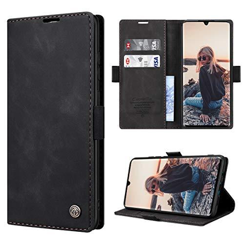 RuiPower para Funda Xiaomi Mi Note 10 con Tapa Funda Xiaomi Mi Note 10 Pro Libro Fundas de Cuero PU Premium Magnético Tarjetero y Suporte Carcasa Xiaomi Mi Note 10/ Mi Note 10 Pro - Negro