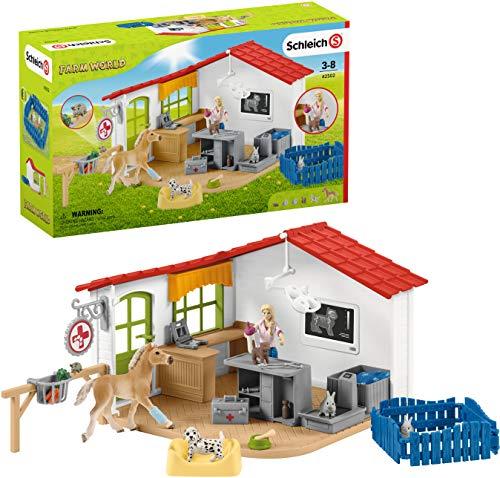 Schleich 42502 Farm World Spielset - Tierarzt-Praxis mit Haustieren, Spielzeug ab 3 Jahren