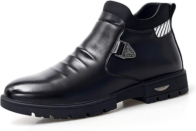 EGS-chaussures Martin bottes Chaussures pour Hommes en Cuir Microfibre Wild Décontracté bottes Chaussures de Cricket (Couleur   Noir, Taille   40)