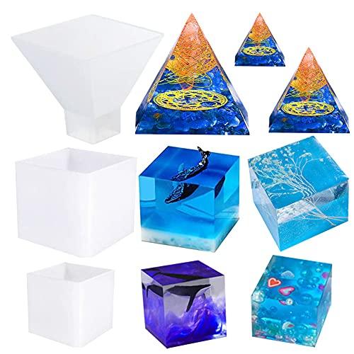 Jatidne Molde de resina para pirámide cuadrado para resina de fundición de silicona pirámide molde de resina epoxi molde de resina para manualidades