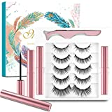 5 Pairs Magnetic Eyelashes and Magnetic Eyeliner Set,Waterproof Magnetic Eyelashes and No Glue,3D Magnetic Lashes Look Natural and Reusable,Including 1 Forceps and 2 Magnetic Eyeliner