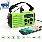 Weather Radio Onlyee Solar Hand Crank Emergency Radio 5 Ways Powered AM/FM/SW/NOAA Weather Alert Portable Radio with Flashlight, Reading Lamp, 2000 mAh Power Bank, USB Cellphone Charger and SOS Alarm