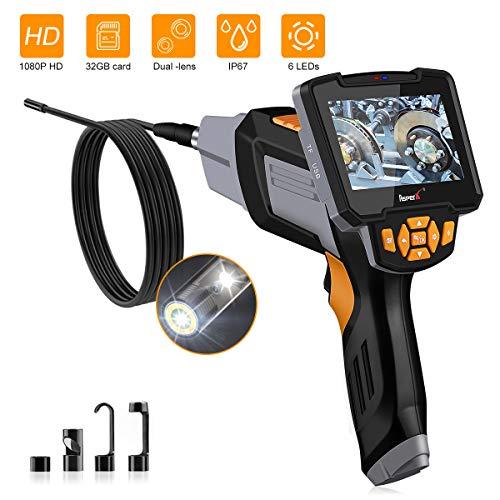AsperX Digitale Endoskopkamera, 4,3 Zoll 1080P HD Endoskop, 8MM Inspektionskamera 6 LED Leuchten mit Vorder und Seitenansicht Doppelkamera, IP67 Wasserdicht 5 Meter Kabel, 32GB Karte
