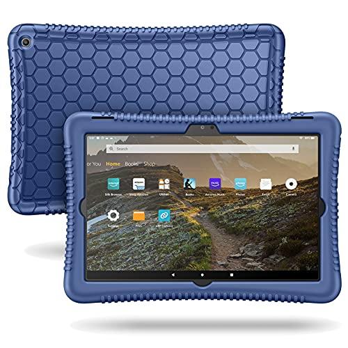 Fintie Silikon Hülle für Das Neue Amazon Fire HD 10 & Fire HD 10 Plus (nur kompatibel mit Tablets der 11. Generation, 2021) - Leichte Stoßfeste Silikon Kinderfre&liche Schutzhülle, Marineblau