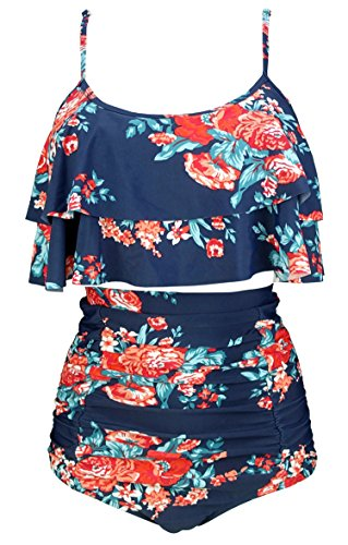 COCOSHIP Red Pink & Navy Blue Antigua Floral Ruffled Bikini Set Straps Flounce Falbala Top Tiered Ruched High Waist Bathing Swimsuit 10