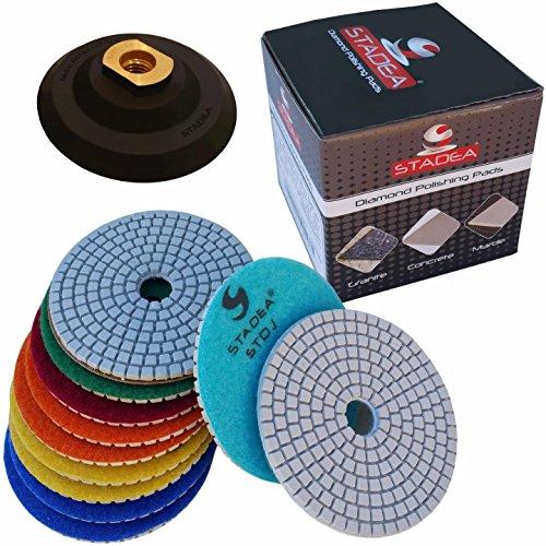 "Diamond Polishing Pads 4"" inch Wet/Dry Set of 11+1 Backer Pad Best Value Granite Concrete"