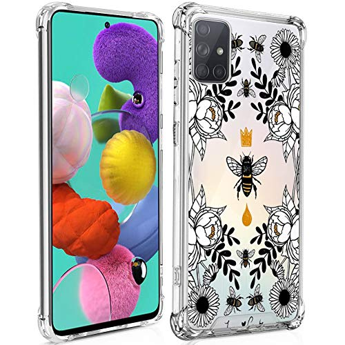 Samsung Galaxy A51 Case Clear Crystal Queen bee Design Hard PC+Soft TPU Environmentally Material Protective Case Non-Slip Protection 4 Shockproof Corners for Samsung Galaxy A51
