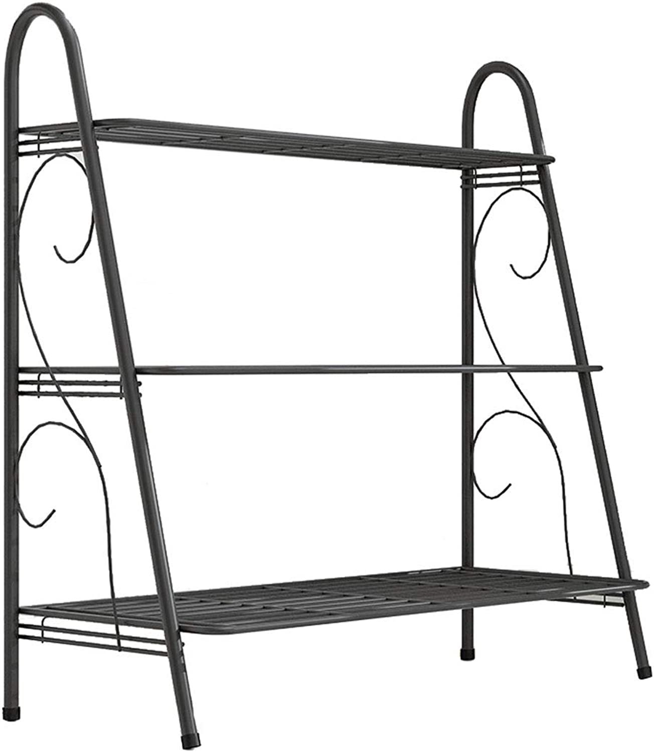 MBD Multi-Layer Wrought Iron Flower Staging Plant Stand Succulent Display Shelf for Garden 24.8  12.2  28.3in Black