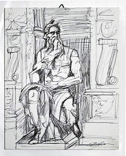 Michelangelo's Moses - Etude sur papier toilé,technique en Chine noir dimensions cm 24x30x0,3 cm, prêt à être accroché au mur.Fabriqué en Italie, Toscane, Lucques, créé par Davide Pacini.