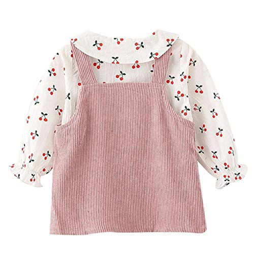 Gyratedream kinderen zomer cartoon kers gedrukt lange mouwen T-shirt ronde kraag nonchalant tops slabbetje rok, 0-3 t X-Large roze