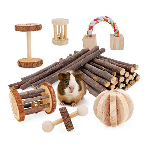 JanYoo Guinea Pig Toys Chinchilla Hamster Roller Rat Chews Toys Bunny Rabbits Exercise Wheels Molar Wooden for Teeth(Pack of 7)