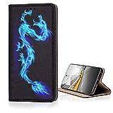 KX-Mobile Hülle für Samsung Galaxy A21s Handyhülle Smart Magnet mit Motiv 130 Drache in Blau Schwarz
