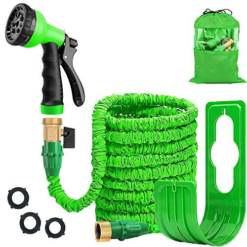 Expandable 100FT Garden Hose Pipe - Lightweight, Durable& Felxible - 8 Function Spray Gun/Hose Hanger/Storage Bag/Brass Fittings for Lawn/Pet/Car/Boat Wash