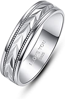 AVECON Silver 6MM Men's Wedding Ring Engraved I Love You Diamond Cut Patterned Simple Design Ring Best Gift for Husband