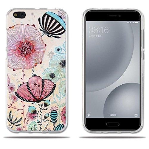 FUBAODA für Xiaomi Mi 5c Mi5c Hülle, [Lotus] Transparente TPU Mode Slim Flexible gedruckt Blume Schock Absorbing Girl Geschenke für Xiaomi Mi 5c Mi5c