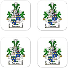 Putmans Family Crest Square Coasters Coat of Arms Coasters - Set of 4