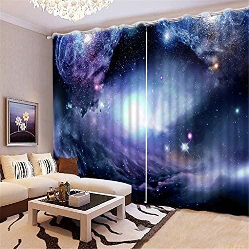 JMHomeDecor Cortinas Opacas De Tela De Seda Negra Universo Hermoso Y Vasto Cielo Estrellado Cortinas con Ojales con Aislamiento Térmico 3D 290 (H) X140 (An) Cmx2