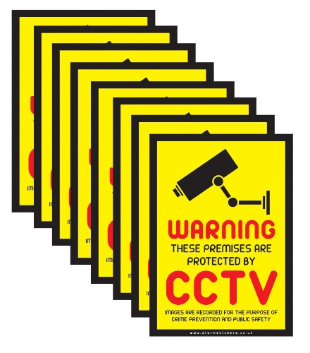 8 x CCTV Warning Security Stickers Signs for Internal or External use by uk print shop