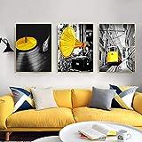 KELEQI Impresión de Arte de Lienzo nórdico Retro Tocadiscos Tren Imagen Cartel Fondo para Sala de Estar decoración del hogar (50x70cm) X3 sin Marco