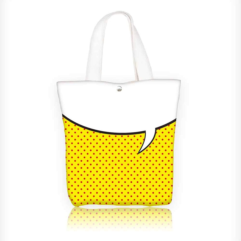 Canvas Tote Bag Speech Bubble in pop Art Style Hanbag Women Shoulder Bag Fashion Tote Bag W16.5xH14xD7 INCH