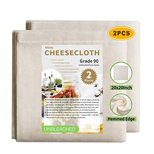 Olicity Cheesecloth, 20x20 Inch, Unbleached