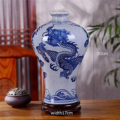 HZY Vasen Vase Dekoration Antike Jingdezhen Keramik-Vase Crackle Glaze Blue Dragon Porcelain Vase Blumen Receptacle Geschenk, 7, Farbe: 1 (Color : 3)