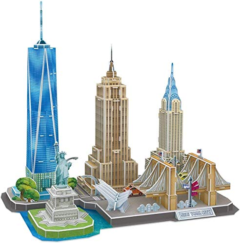 JIAFENG 3D Puzzles for Adults New York Cityline Architecture Building Model Children'S Creative Gifts Christmas Gathering Teenagers and Husbands Collection Toys Gift Keepsake