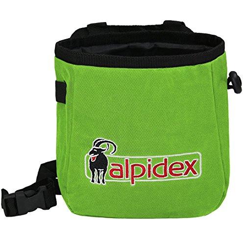 ALPIDEX Bolsa de Magnesia Chalk TO ME con cinturón Incluido, Color:Green Flash
