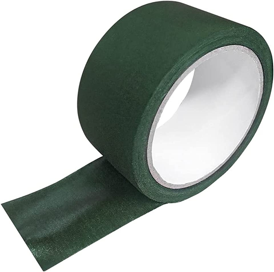 Green Fabric Tape Adhesive Artificial Grass Joining Tape Waterproof Camouflage Tape Wrap Invisible Camo Tape Seam Sealing Tape for Webbing Repair, Camouflage Device, Equipment Repair (5 cm x 10 m)