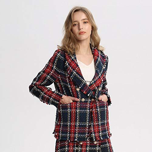 LXFWT Frauen chic Plaid Tweed Blazer Taschen Fransen Quaste Langarm Mantel Tasten Dekoration weiblich lässig Oberbekleidung Tops CA228 L