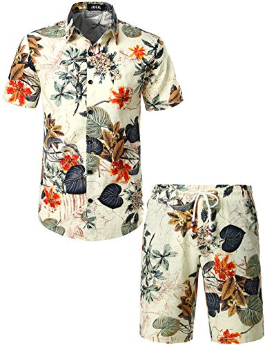 JOGAL Men's Flower Casual Button Down Short Sleeve Hawaiian Shirt Suits X-Large White