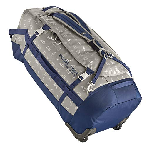 Eagle Creek Cargo Hauler Wheeled Duffel, foldable travel bag with wheels, large duffle bag, abrasion and water resistant TPU fabric, backpack straps, gray (Cali Hiero), 130 L.