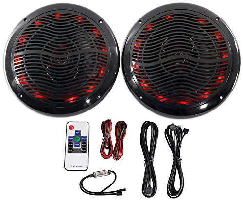 """Price comparison product image Rockville Rmc65lb 6.5"""" 600W 2-Way Black Marine Speakers with Multi Color LED + Remote"""