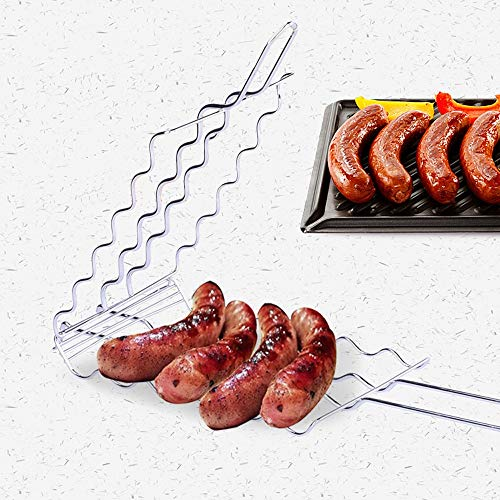 Lorenory BBQ Barbecue Worst Grilling Mand Hot Dog Rack Metalen Mesh Manden Grill Rack Barbecue Manden Grote grill voor 6 hot dogs