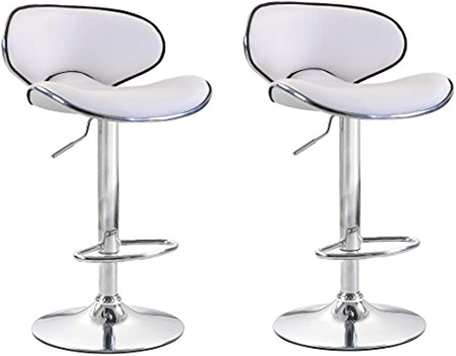 ViscoLogic Series Oasis Height Adjustable Leatherette Saddle Style Seat and High Back Rest 360 Swivel 24 to 33 inch Bar Stool with Chrome Pole & Base with Hard Floor Predection Plastic (Set of 2 Stools) (Matt White)