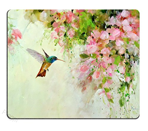 Gaming Mouse Pad Custom Design Mat, Lovely Hummingbird and Pink Flowers Oil Painting Art,9.5 X 7.9 Inch (240mmX200mmX3mm)